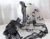 Vintage Black Mantilla Veil Tulle Lace Bows