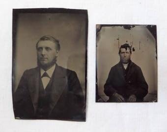 Antique Tintype Photo Lot Man With Beard 2 Tintypes