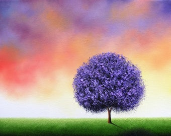 ORIGINAL Purple Blossom Tree Painting, Textured Oil Painting, Lavender Tree Art, Multicolored Abstract Art, Contemporary Landscape, 12x16