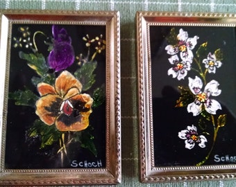 Two Tiny Glass Paintings   ACE