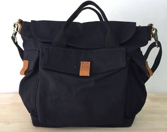 New Black Canvas 2 way Bag / Messenger / Tote Vintage Style **Free shippng**