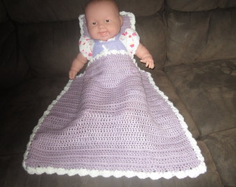 Lavander and White Baby Doll Blanket and Pillow Set