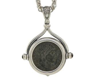 Silver Coin pendant necklace, roman coin necklace, coin statement necklace, necklace with coin pendant, pendant coin necklace