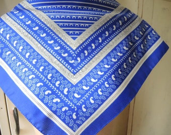 vintage 1970s scarf blue and white stripes and paisley polyester  19.5 x 19.5 inches