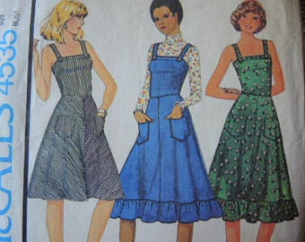 vintage 1970s McCalls sewing pattern 4535 dress or jumper Juniors size 9