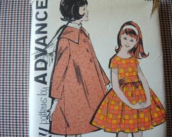 vintage 1960s Advance sewing pattern 2821 girls dress and coat size 14 UNCUT