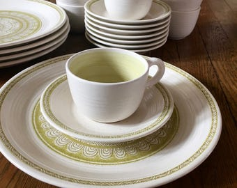 Awesome Set of Hacienda Green Plates, Cups and Saucers by Franciscan; Mid Century Dinnerware; 1950s Kitchenware; hard to find