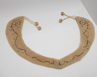 Vintage 1950s Faux Pearl Collar (8432) Pastel Beads--Japan
