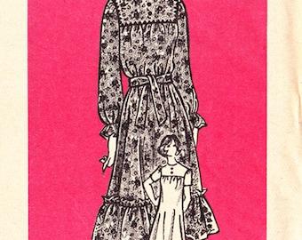 "RARE FF 70s Size 20 Misses Midi Dress Square Neck Yoke Ruffle sleeves Bottom Ruffle Vintage Sewing Pattern, Mail Order 9189 Bust 42"", UNCUT"