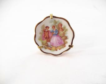 Limoges Mini Plate on a Stand, Features Victorian Couple