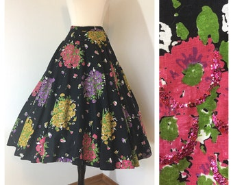 Spell Bound / Vintage 1950s Floral and Sequins Cotton Circle Skirt