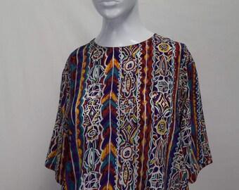 Silk Loose African Print Top