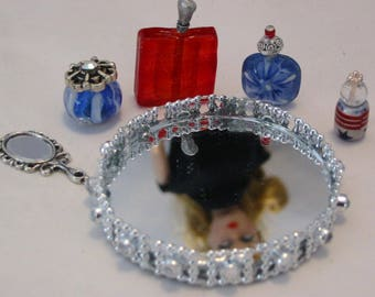 Miniature Barbie Perfume Vanity Set Red White Blue with Mirrored Tray Hand Mirror 6 Pieces