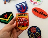 London iron on, patches, iron on patches, denim jacket, jean jacket, patches, embroidered patche