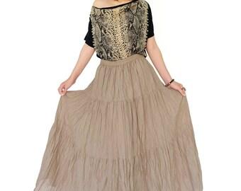 NO.5 Beige Cotton Gauze, Hippie Gypsy Boho Tiered Long Peasant Skirt
