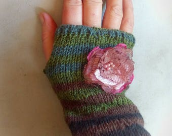 Fingerless gloves, arm warmers with flower, flower glowes, striped gloves, wool gloves, spring accessory