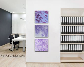 Minimalist sunset painting/ purple abstract sunset/ ORIGINAL wall art /3 painting set / 15 x 45  / Purple, white, blue