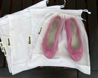 Set of 5  shoes bags  cotton/organza