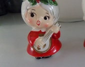 Vintage Lefton Christmas Caroler / Choir Girl only 1 Candle Holder, collectible - egg cup holder with guitar