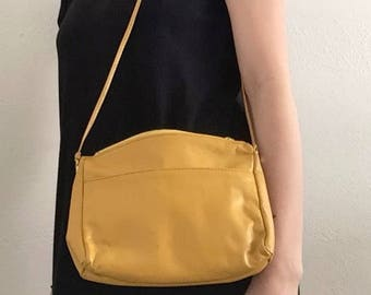 Bright Yellow Leather Vintage Crossbody Summer Small Purse