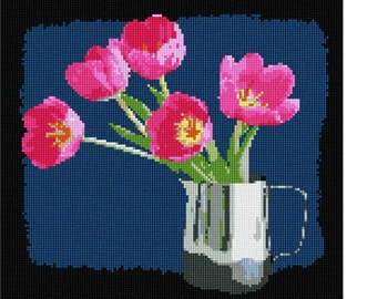 Needlepoint Kit or Canvas: Tulips In Cup