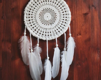 Dream Catcher - Unique Dream Catcher with White Handmade Crochet Web and White Feathers - Home Decoration