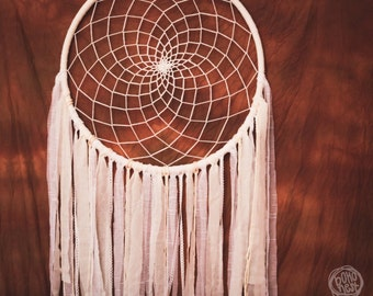 Extra Large Dream Catcher for Wedding or Nursery Decor - Giant Bohemian Decoration, White-Cherry, Tribal Decor, Boho Dreamcatcher