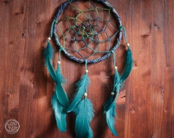 Dream Catcher - Dark Forest No.12. - Boho Dreamcatcher with Transitional Web and Stunning Blue Feathers - Mobile, Nursery Decor