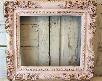 Large thick picture frame shabby cottage chic pink gold wall hanging display vintage distressed blossoms frames decor anita spero design