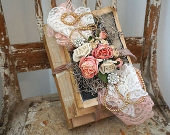 Distressed book stack shabby cottage chic embellished bundle tea stained books pearls and tattered lace home decor anita spero design