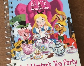 Alice in Wonderland Mad Hatter's Tea Party Little Golden Book Recycled Journal
