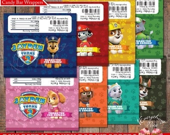 Paw Patrol Theme Birthday 1.55 oz Chocolate Candy Bar Wrappers Personalized Digital