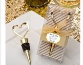 Gold Heart wine bottle stopper Favors - set of 12 bottle opener bridal shower favors with personalized tag