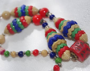 Vintage Necklace / Choker: Red Green Blue & Tan Fluted Nesting Glass Bead Necklace