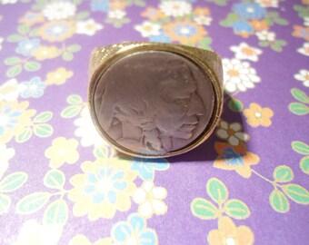 1 Goldplated Buffalo Nickel Indian Head Nickel Ring Size 11