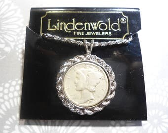 "1 Sterling Silver 18"" Mercury Dime Necklace"