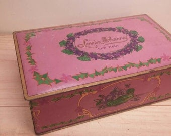 Excellent Condition LOUIS SHERRY Beautiful Lavender Hinged Lid Metal Box by CANCO 1930s with Ivy and Pansies