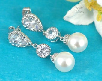 Pearl Earrings Ivory Pearl Earrings Swarovski Pearl Bridesmaid Jewelry Bridal Pearl Jewelry Wedding Jewelry Cubic Zirconia Earrings P44PC