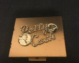 """Vintage Compact for Petty Cash Coin Purse Bling Gold Metal""""SALE"""""""