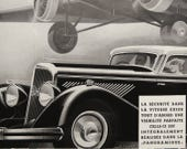 Vintage 1934 CAR and AIRPLANE advertisement. 1930s Advertisement print. Art Deco. Advertisement plate. Panhard Automobile. 83 years old