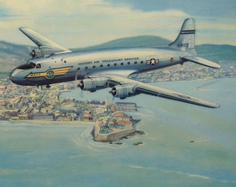 1951 Vintage print of a DOUGLAS C-54 SKYMASTER Airliner Aircraft by Charles H. Hubbell. Civil Aviation. Airplanes. 66 years old lithograph