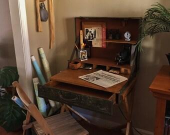 Vintage Suitcase Desk, Campaign Desk, Trunk Desk, Suitcase Table, Writing Desk