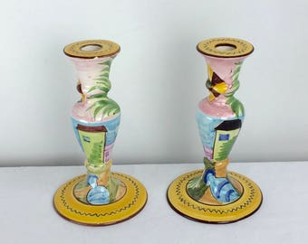 Vintage mid century pair of hand-painted Portugal candlestick holders ceramic pottery home Decor folk art farmhouse cottage chic