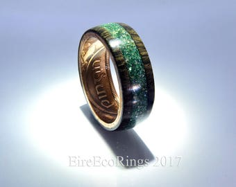 Connemara marble Irish wedding ring Celtic design.