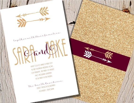 Burgundy And Gold Wedding Invitations: Burgundy Wedding Invitation Burgundy And Gold Wedding