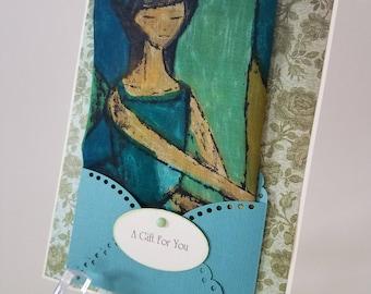 Retro 1960's Vintage Hankie Card Handkerchief  Mod Ballet Recital  Ballerina Keepsake Teacher Student Gift Card