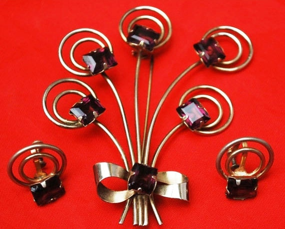 Flower Spray Brooch earring set gold fill amethyst glass pin and screw back earrings