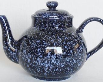 Vintage Arthur Wood England Dark Blue Speckled Teapot, Vintage Teapot, Arthur Wood England Blue Speckled Teapot, Vintage Arthur Wood England