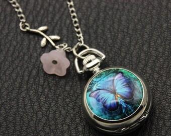 Necklace pocket watch butterfly 2222M