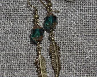 Emerald Green Czech Feather Earrings